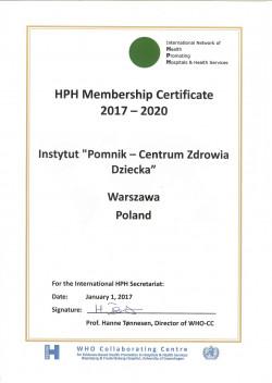 """Certyfikat """"Szpital promujący zdrowie"""" 2017 – 2020"""