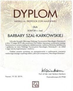 Dr n.med. Barbara Szal-Karkowska wyróżniona medalem im. Prof. Zofii Majewskiej